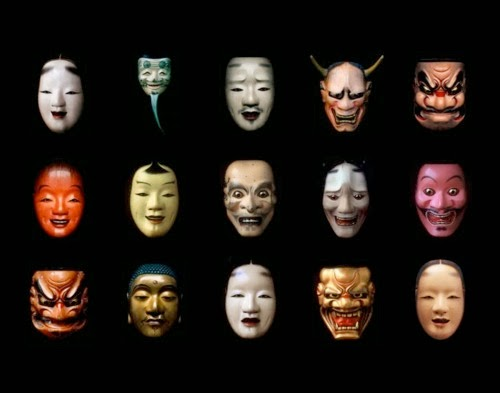 Different examples of Noh Masks